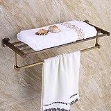 HQLCX Bath Towel Bar, All Copper Retro European And American Double Towel Bar
