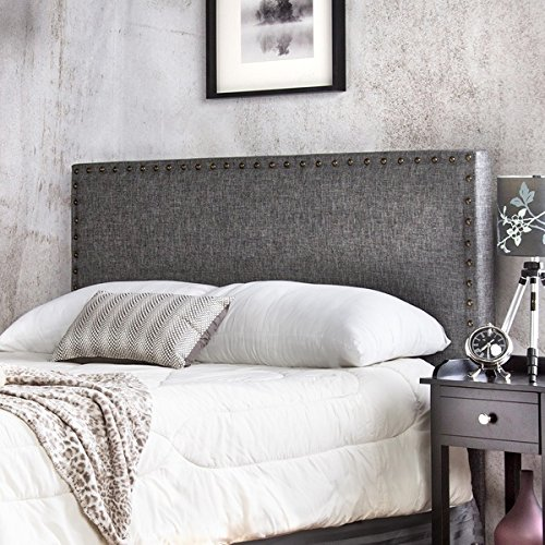 Grey Button Nailed Headboard Is a Tall Tufted Headboard. Our Tufted Headboard...