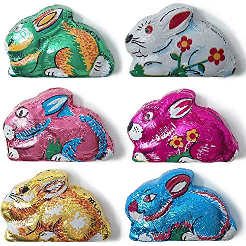 Madelaine Highly Detailed, Bite-sized, Solid Premium Milk Chocolate Easter Sitting Bunnies Wrapped In Colorful Italian Foils - 1 LB