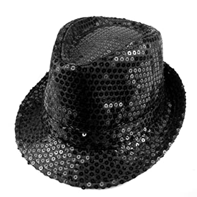 a8b2e251 LOCOMO Women Girl Fedora Trilby Homburg Stetson Short Brim Sequin Glitter  Hat Dance Dancer Stage Party FFH012BLK Metallic Black: Amazon.co.uk:  Clothing