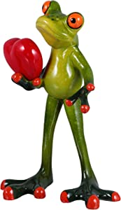 Kisangel Resin Frog Statue Green Frog Personalized Animal Figurines with Heart Model Ornament 14. 5x9x5cm for Garden Home Office Decoration