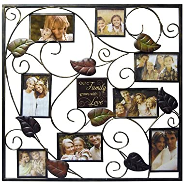 Haven Our Family Metal Stamped Leaf Collage Frame