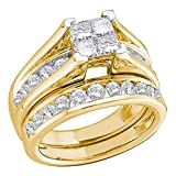 Princess Diamond Cluster Engagement Ring & Wedding Band 10k Yellow Gold Bridal Set Round Stones 1/2 ctw
