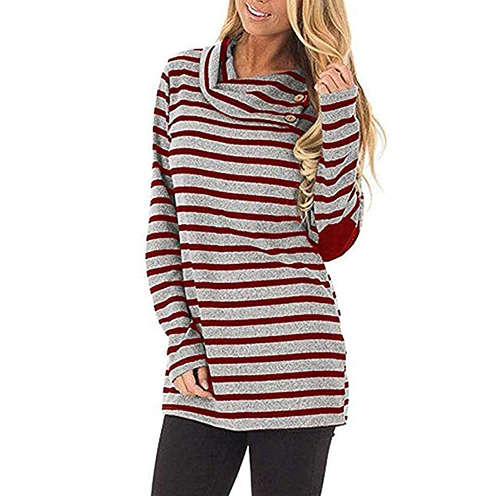 Long Sleeve Casual Loose Striped Stitching Lapel Top OSTELY Womens Pullover Sweatshirts