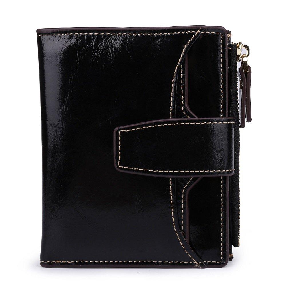 Mufly Women's Blocking Large Capacity Luxury Wax Genuine Leather Clutch Wallet Card Holder Organizer Ladies Purse (Black)