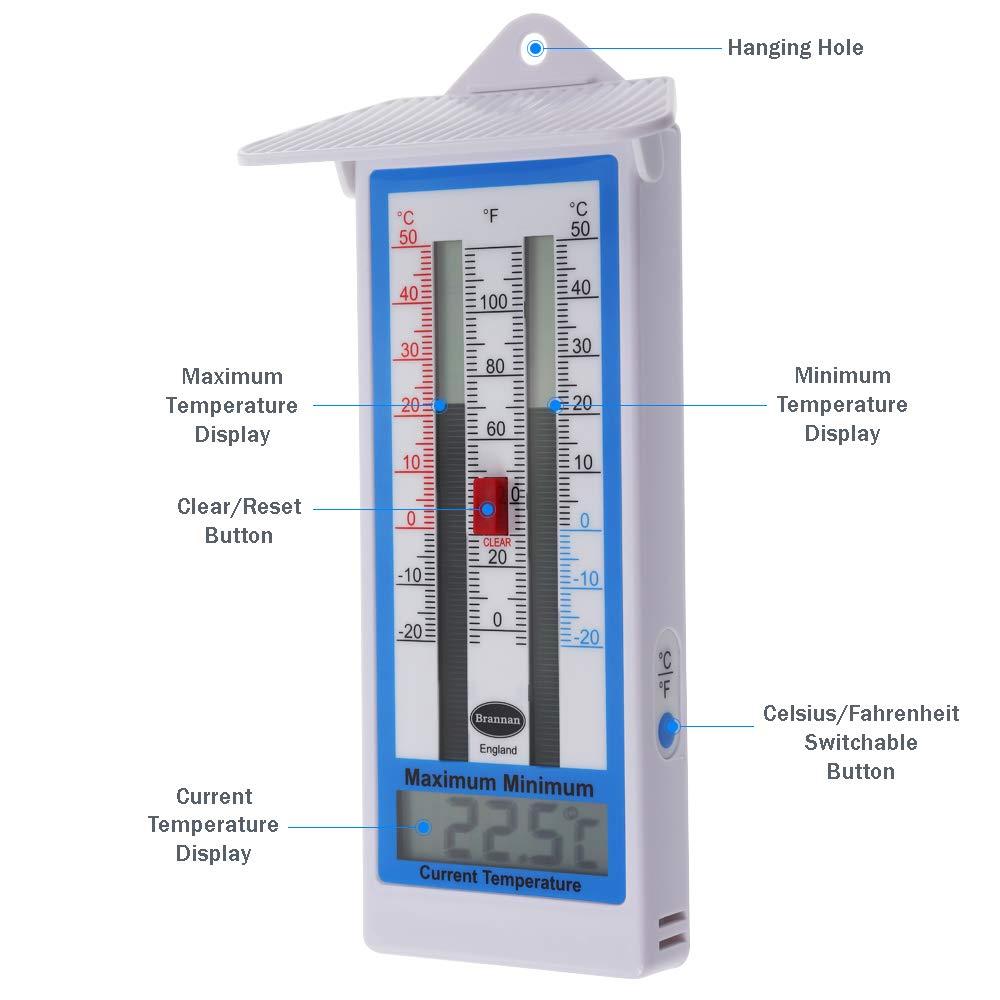 Garden Thermometer Greenhouse Outdo Indoor Hang Temperature Celsius Fahrenheit