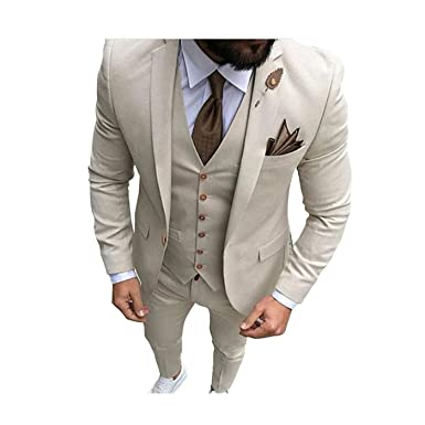bff6c66daf Men Beige Tan Ivory 3-Pieces Tailored Wedding Notch Lapel Tuxedo Groomsmen Men  Slim Fit Blazer Pant Vest Suit at Amazon Men's Clothing store: