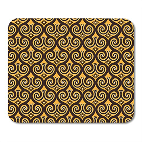 Semtomn Gaming Mouse Pad Yellow Ethnic in Indonesian Batik Brown Indonesia Java Abstract 9.5