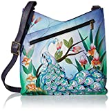 Anuschka Anna Hand Painted Leather Women'S V Top Large Crossbody, Midnight Peacock