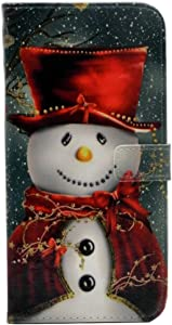 CYD Case for iPhone XR, Lovely Christmas Snowman with Red Scarf and Top Hat Pattern Leather Wallet Flip Case Kickstand TPU Cover with Card Holder for iPhone XR 6.1 inch (2018 Release)