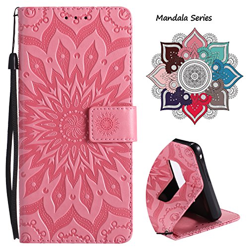 (Wallet Leather Flip Case for Samsung Galaxy Note 8, Embossed Art Mandala Pattern with Kickstand Card Slots, Embedded Durable Magnetic Full Body Protective Case Cover for Galaxy Note 8 (2017))