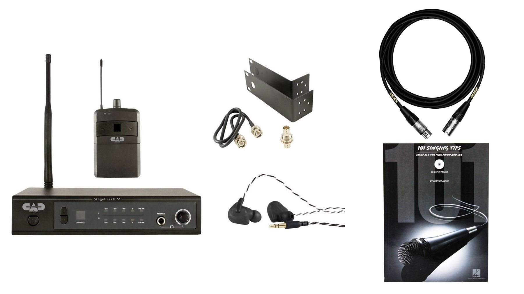 CAD Stagepass IEM w/ 101 Singing Tips & Mogami Premium XLR Cable Bundle