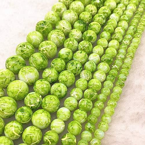 PPSM 4月6日/ 8/10ミリメートルDIYブレスレット&ネックレスを作るチャーム用ジュエリー塗装ダブル色ガラスビーズルース