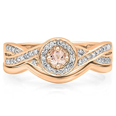 f40cc4ba7bd5fe Dazzlingrock Collection 10K Round Morganite & White Diamond Ladies Bridal  Halo Engagement Ring Set, Rose