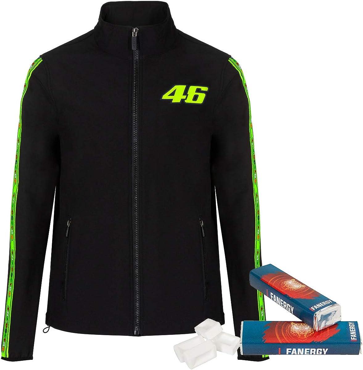 2X FANERGY Traubenzucker Valentino Rossi Softshelljacke Tapes schwarz