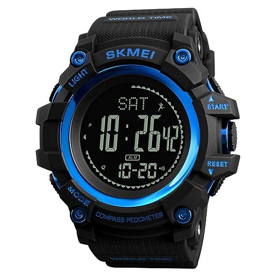 Reloj deportivo para hombre con podómetro, impermeable, cuenta atrás, calorías, hora mundial, 12/24 horas, reloj despertador, color azul: Amazon.es: Relojes