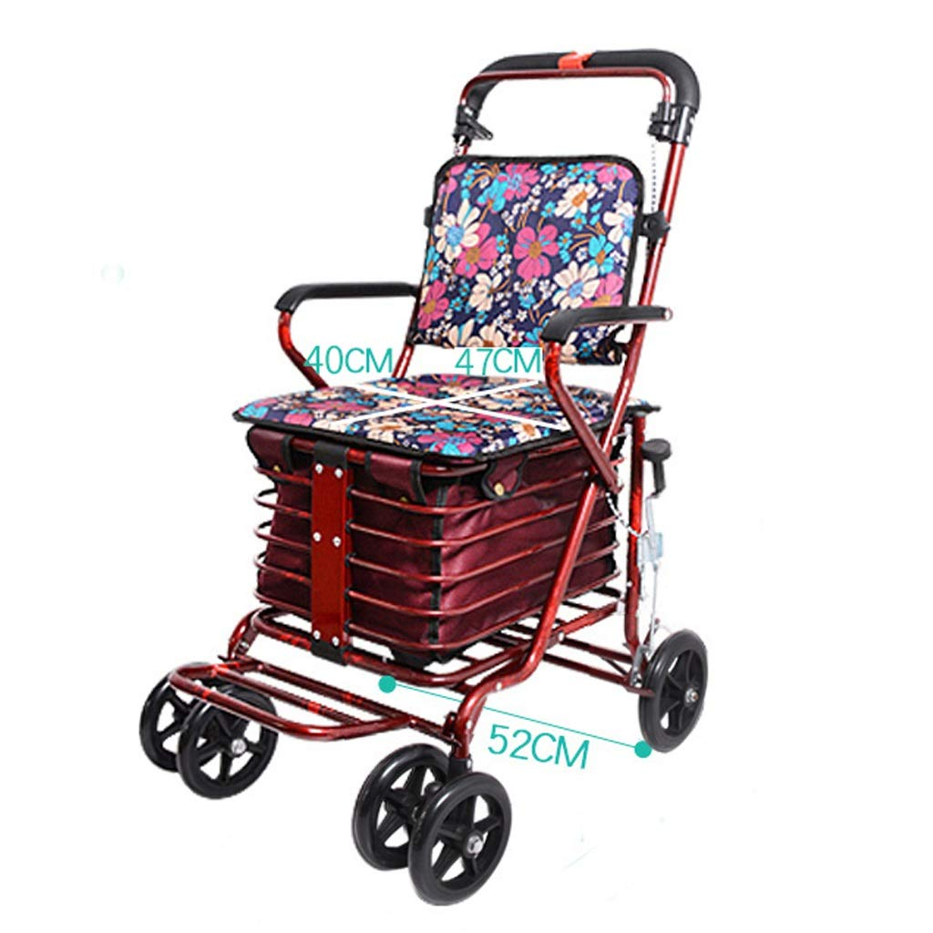 Rollator Walker Petite,with Fold Up Removable Back Support with Seat and Lower Basket Lockable Brake Auxiliary Walking Safety Walker (Color : Red)