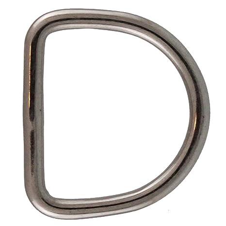10 pieza anillas en forma de D 4 x 25 Soldado, pulido, Acero inoxidable A4