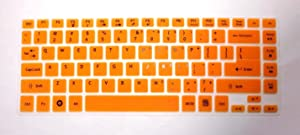 "BingoBuy Semi-Orange Silicone Keyboard Protector Skin Cover for ACER Aspire E1-472, E1-472G, E1-472P, E1-470P, E14, E5-411, E5-471G, ES1-511, R7-571, R7-571G, R7-572, 4830, 4830T, AS4830T, 3830, 3830T, AS3830T series (if your ""enter"" key looks like ""7"", our skin can't fit) with BingoBuy Card Case for Credit, Bank, ID Card"