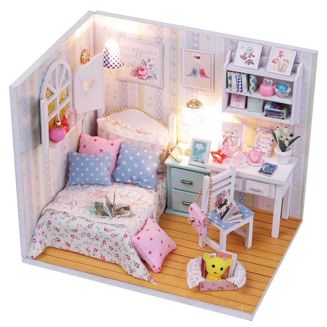 Doll House mobili in Miniatura, Mini Scena casa Arredonnato Giocattoli DIY Legno Dollhouse Kit,blu