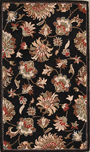 Rug Source New Oushak All-Over Floral Hand-Tufted 3x5 Black Wool Oriental Area Rug (5' 0