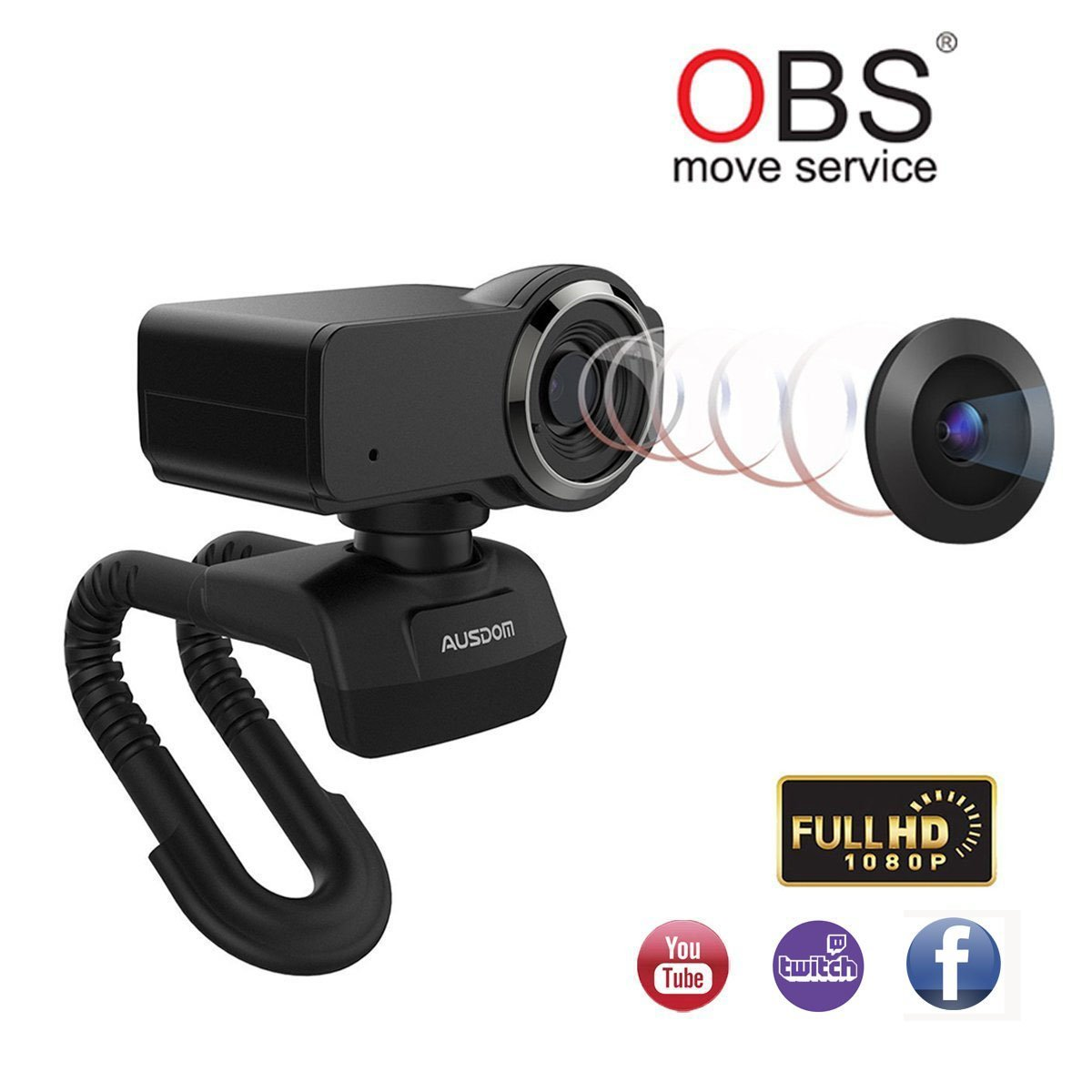 Ausdom Streamed Webcam Full HD 1080P OBS Live Streaming Web Camera Xbox Skype Twitch YouTube Microphone Video Calling Recording Computer Laptop Desktop Plug Play Web Cam
