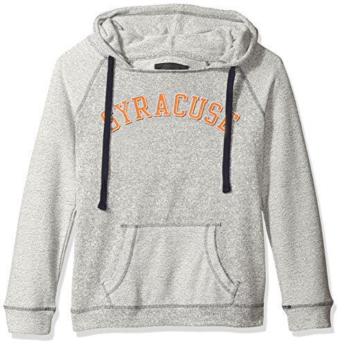 NCAA Syracuse Orange Women's Reverse Sleeve and Pocket Hoodie, Medium, Pepper/Navy Syracuse Pocket