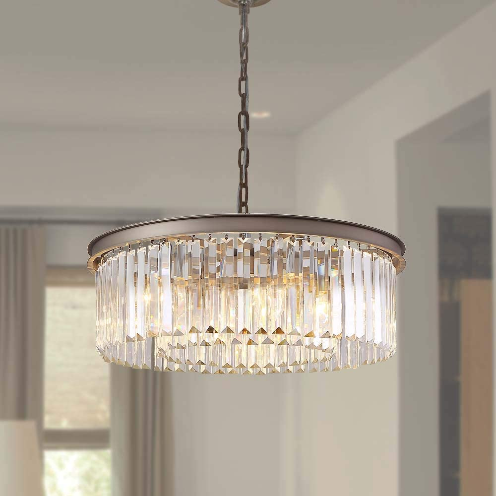MEELIGHTING Modern Contemporary Nickel Crystal Chandeliers Lights Vintage Pendant Round Chandelier Lighting Fixture Traditional 3-Tier 5Lights for Dining Room Living Room Kitchen Island W22