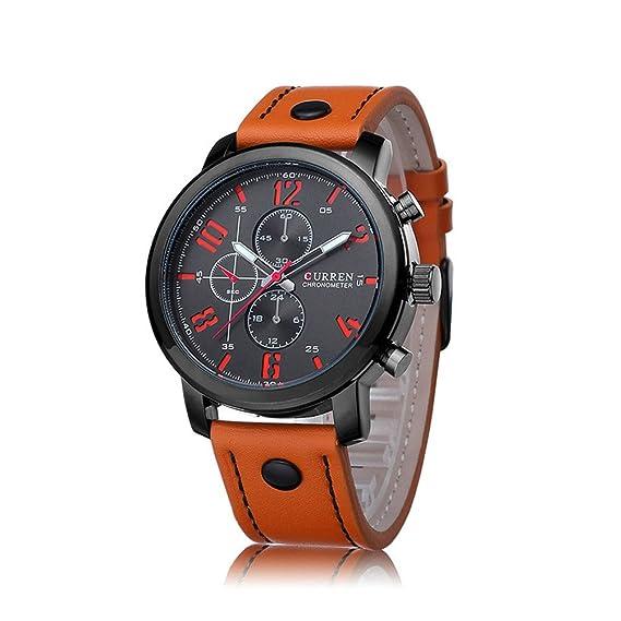 Cuero mejores relojes de relojes de marcas de lujo Curren deporte de los hombres del cuarzo de los hombres de los hombres de Brown Relojes Curren: ...