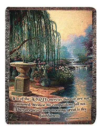 Hour of Prayer Thomas Kinkade Bible Verse Tapestry Throw Blanket 50
