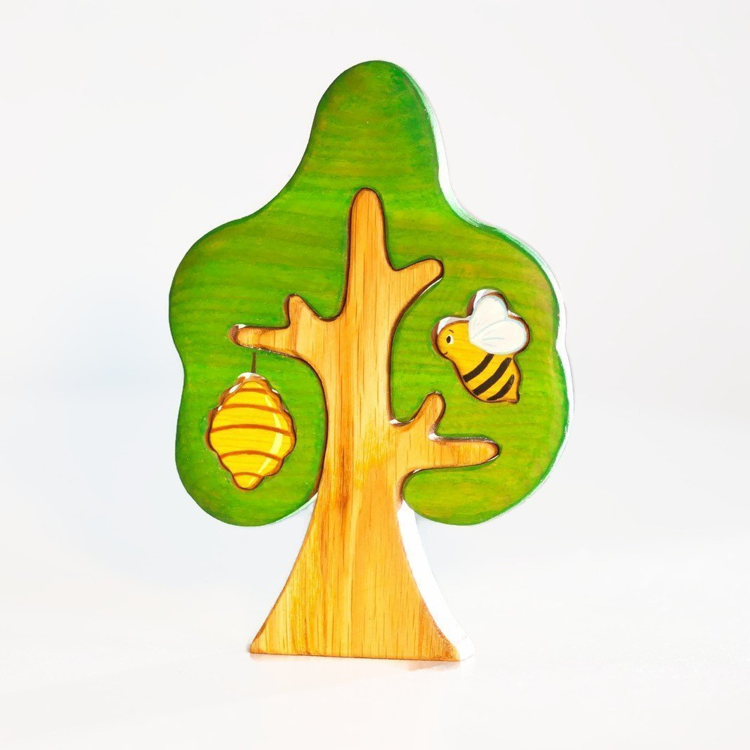 Waldorf tree with a bee and a beehive is a good addition to any nature table and kids imaginative play by Wooden Caterpillar Toys