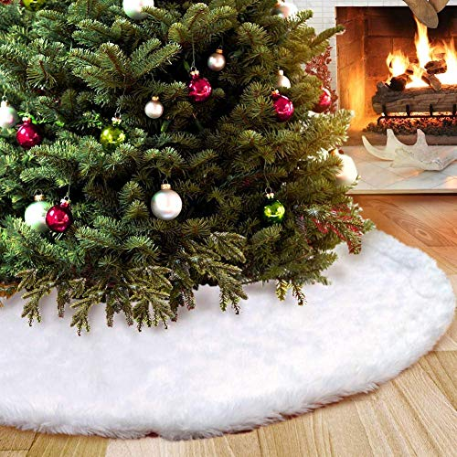 AMADE Christmas Tree Skirts White Luxury Faux Fur Tree Ornaments Plush XmasTree Skirt for Christmas Decoration New Year Party Holiday Decorations Pet Favors (33.4inch Dia) - Fur Christmas Ornaments