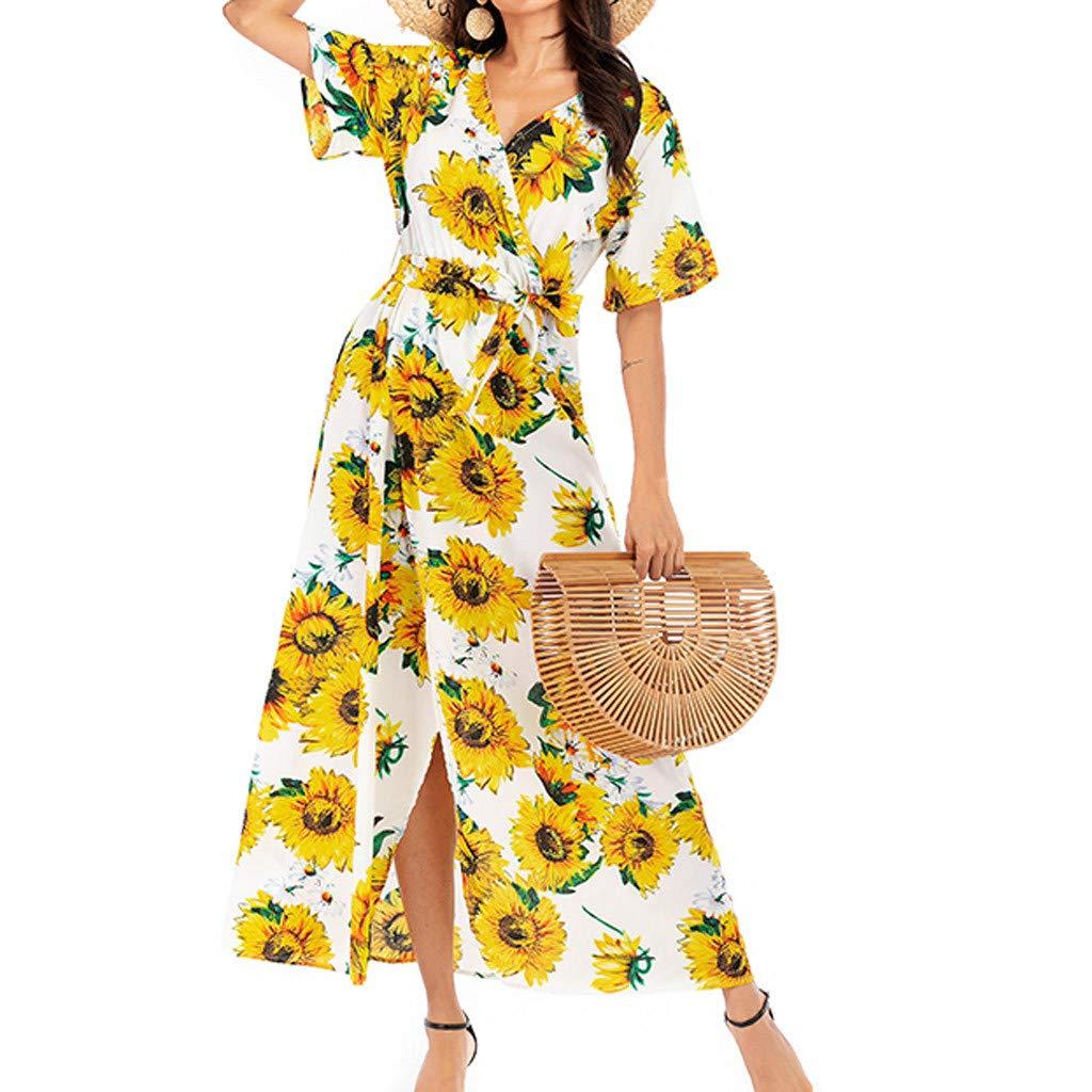 〓COOlCCI〓Women Sunflower Deep V Neck Short Sleeve Cross Wrap Casual Flared Midi Dress Casual Sundress T Shirt Dress Yellow