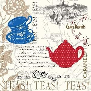 Elise Premium Patterned Beverage Napkins, 24 Count, Vintage Modern - Tea Time