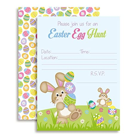 "Amazon.com: Easter Egg Hunt Bunny with Eggs Party Invitations, 20 5""x7"" Fill in Cards with Twenty White Envelopes by AmandaCreation: Toys & Games"