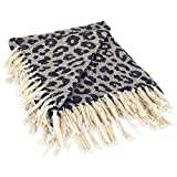 DII CAMZ38919 Modern Cotton Luxury Leopard Print Blanket Throw with Fringe for Chair, Couch, Picnic, Camping, Beach, and Everyday, 50 x 60, Blue