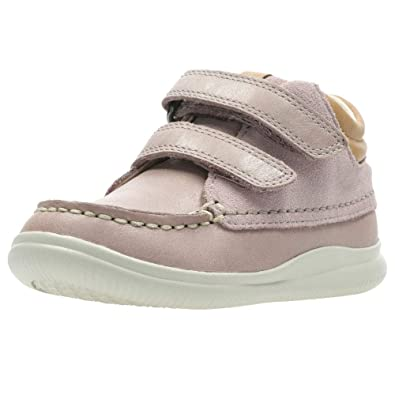 a9c7b1b743c7a7 Clarks Cloud Tuktu Girls First Pink Suede Leather Rip Tape Boots 4 F Pink  Combi