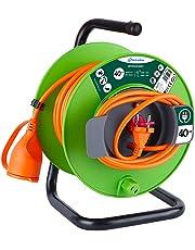 Electraline 49235 Prolunga Giardino con Avvolgicavo Spina e Presa Europea 2 Poli Adatta per Elettrodomestici da Giardinaggio, con Protezione, 40 m, Nero/Verde