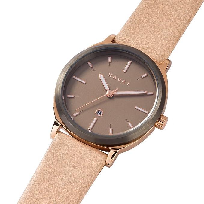 HAVET | Reloj de mujer Amura de acero color oro rosa y kakhi con correa de piel rosa: Amazon.es: Relojes