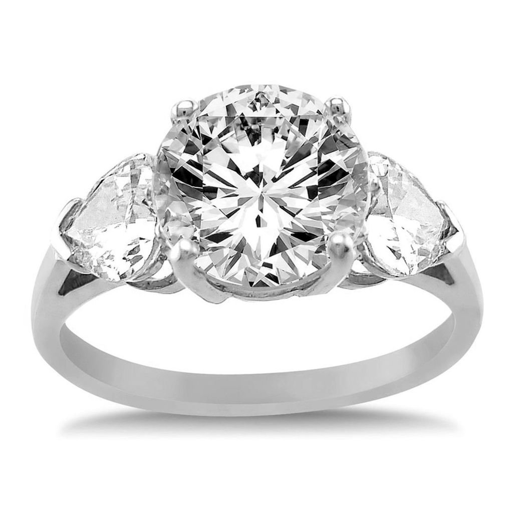 Paradise Jewelers 14K Solid White Gold Cubic Zirconia Round Cut Wedding Engagement Ring with Heart Side Stones, Size 6.5 by Paradise Jewelers Ring Collection (Image #2)