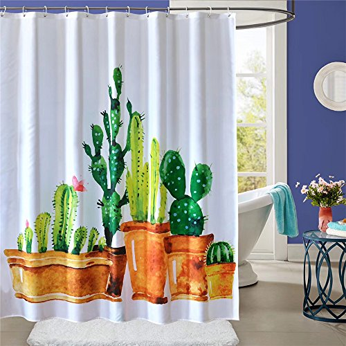Shower Curtain Mildew Resistant Waterproof with Hooks 72x72 Inch Cactus Design 100% Polyester Bathroom Decor Sets Odorless Eco Friendly With Heavy Duty Metal Grommets By ToyerBee