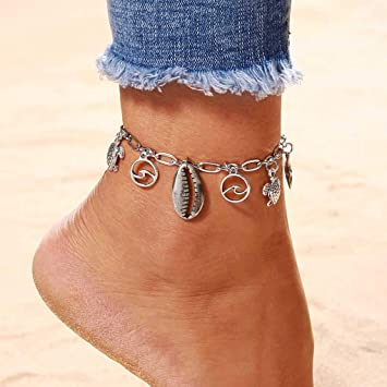 Women Lady Silver Chain Anklet Starfish Anklets Summer Beach Foot Chain Jewelry~