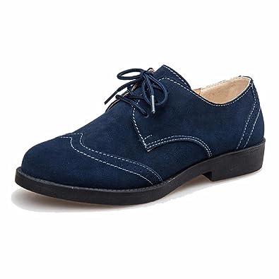 3477145987bf17 Moonwalker Chaussures Derbies Femme à Lacets en Cuir Suede (EUR 34,Bleu  Marine)
