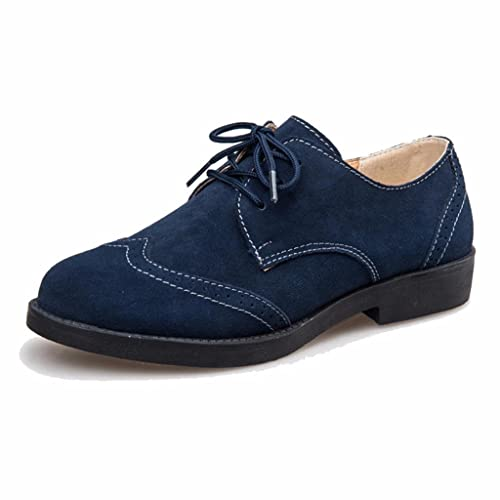 Chaussures De Moonwalker À Lacets En Daim Femme Oxford (eur 34, Marron)