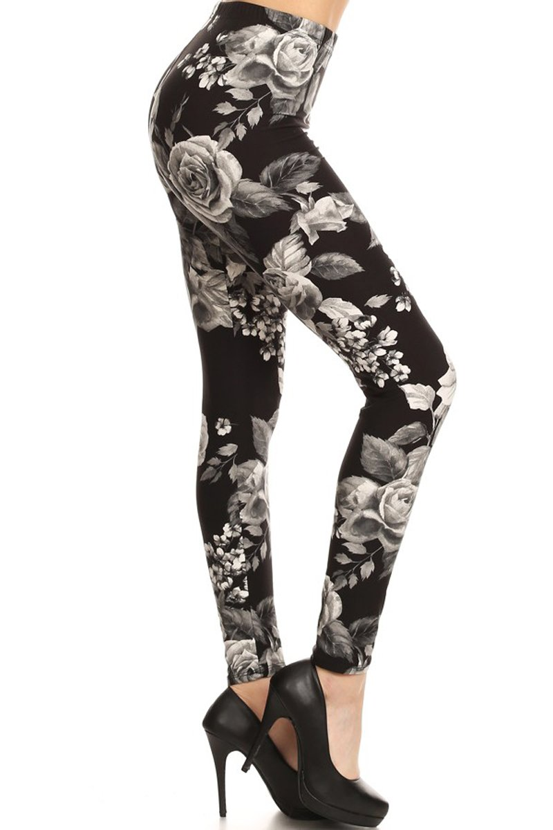 Print Leggings Charcoal Rose (R603-OS)