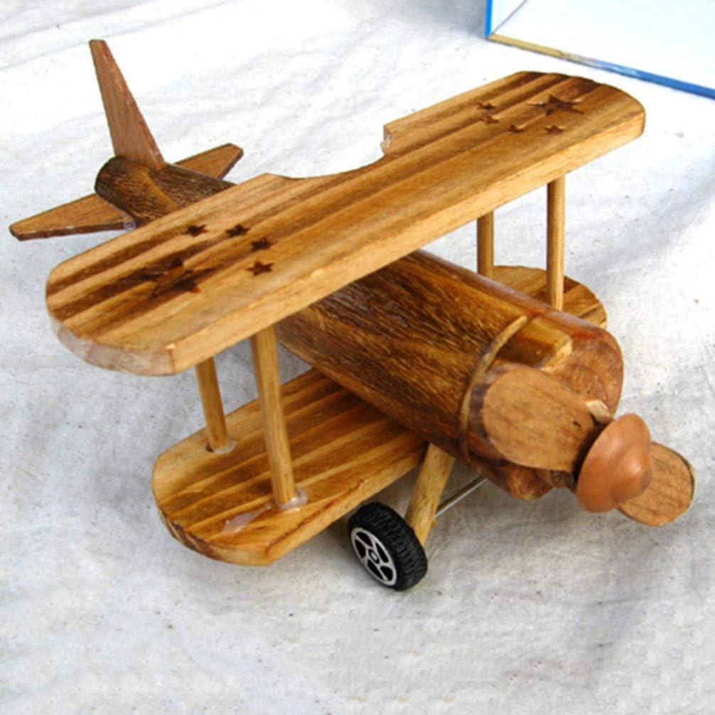 stile vintage regalo per bambini HEALLILY Modellino di aereo in legno giocattolo per lartigianato in legno decorazione per la scrivania