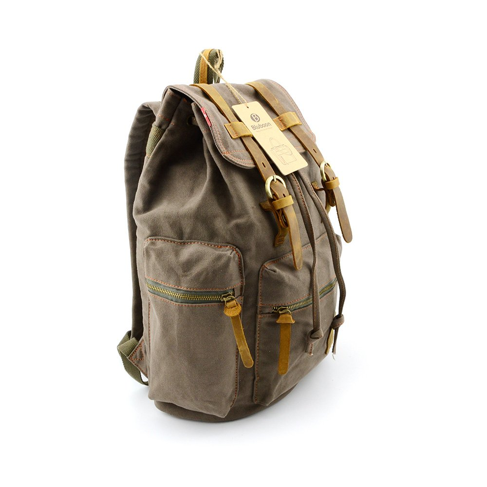Amazon SUPON Vintage Men Casual Canvas Leather Backpack Rucksack Bookbag Satchel Hiking Bag Army Green Baby