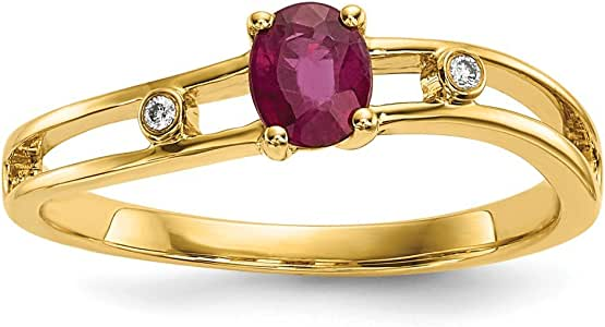 14k Yellow Gold Red Ruby Diamond Band Ring Size 7.00 Gemstone Fine Jewelry For Women Gifts For Her