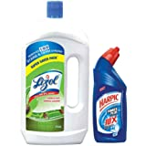 Lizol Disinfectant Floor Cleaner Pine - 975 ml with Free Harpic Power Plus Toilet Cleaner- 200 ml (Any Variant)