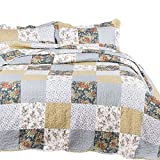 Bedsure Bedding Quilt Set Luxury Bedroom Bedspread Plaid Floral Patchwork Full/Queen Size 90x96 Microfiber Lightweight Vintage